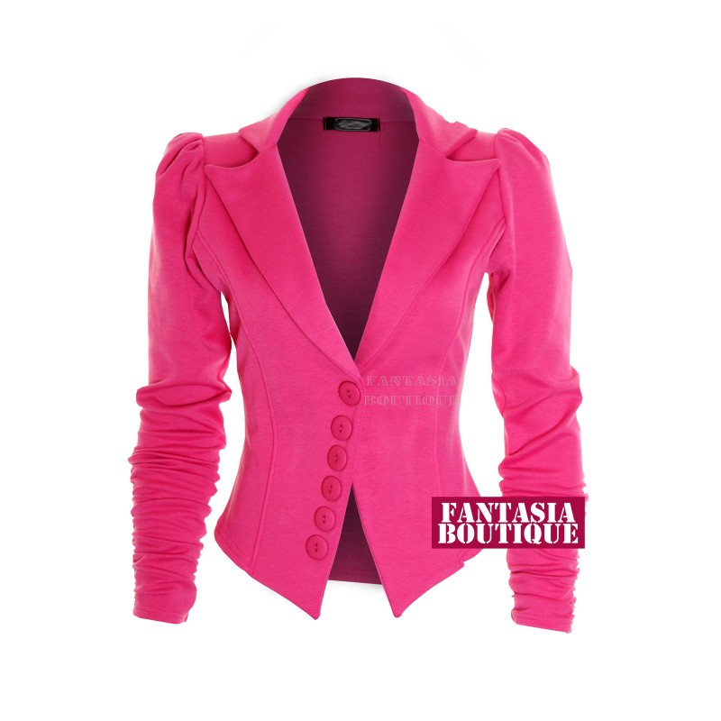 Ruched Sleeve 6 Button Blazer - Pink - Jackets & Coats - CLOTHING ...